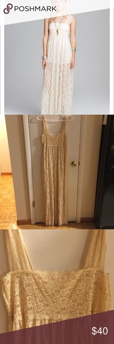 Free People Romance in the Air Slip Beautiful tea colored Slip no longer sold in stores! Comfortable, soft and perfect maxi to add to your collection! Fits tighter on top and flowy on the bottom. Worn ONCE on my honeymoon. Perfect condition!! Free People Dresses Maxi