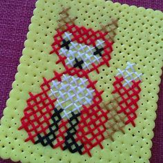 Stitched fox on perler fuse beads by pysselraven