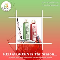 You can never grow weary of these colors around this time of the year! Add a touch of Christmas bliss to your retail store or promotional bags.   Visit us: www.richiebags.com Email us: info@richiebags.com  #WineBags #CristmasGift #PromotionalBags Promotional Bags, Bottle Bag, Red Green, Bliss, Retail, Touch, Seasons, Store, Colors