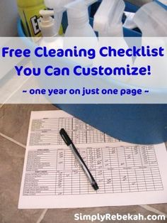 Free Cleaning Checklist You Can Customize - 1 Year on 1 Page | SimplyRebekah.com