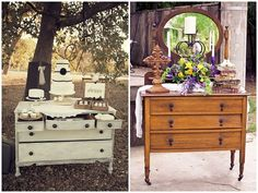 vintage dressers. All kinds of uses! Cake table, photo backdrop! What else can you think of?!