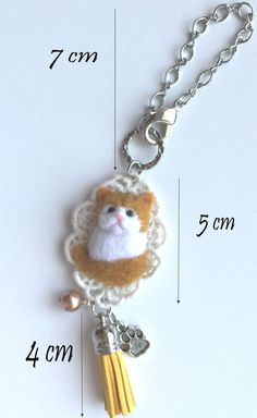 Needle Felted Cat Bag Charm Purse Charm Ornament by CatsyCharm