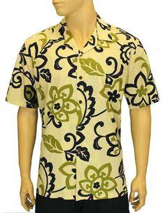 53ef68b54f1 Men s Retro Cotton Aloha Hawaiian Shirt - Cream - Black