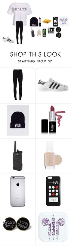 """""""First day on the job"""" by queenmorgan16 ❤ liked on Polyvore featuring Frame Denim, adidas, Wildfang, Butter London, Motorola and Essie"""
