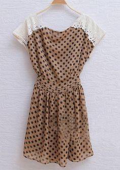 Brown Vintage Round Neck Short Sleeve Polka Dot Chiffon Dress - Sheinside.com