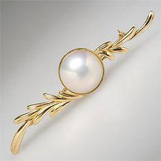 Vintage Mabe Pearl Brooch Pin Pendant 18K Gold - EraGem
