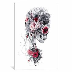 Chic Floral Skull Series 'Skeleton Brider Graphic Art Print on Canvas by East Urban Home Wall Art Decor from top store Floral Skull Tattoos, Skeleton Tattoos, Fake Tattoos, Tattoos Pics, Tattoo Images, Shoulder Tattoos For Women, Geniale Tattoos, 1 Tattoo, Full Sleeve Tattoos