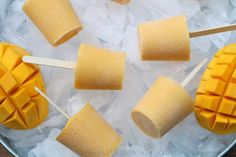 Quick and easy recipe for creamy mango yogurt popsicles made with yogurt, ripe mangoes, and honey. Mango Cream, Ice Cream, Paletas Recipes, Mango Popsicles, Popsicle Recipes, Organic Recipes, Quick Easy Meals, Snacks, Meals