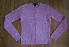 RALPH LAUREN Black Label Women's 100% CASHMERE Cable Knit Pink Sweater S Small #RalphLaurenBlackLabel #Cardigan
