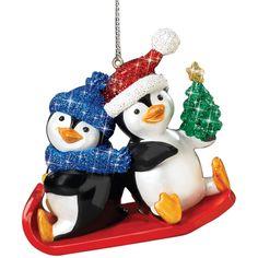Playful Penguins Christmas Ornaments - Sledding