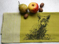 "Geschirrtuch ""Kleiner Fuchs"" Fair-Trade // kitch towel with fox print by Hirschkind via DaWanda.com"