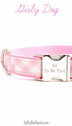 pink and white gingham dog collar. Sweet girl dog collar in pink and white plaid