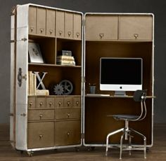 Richards' Metal Secretary Trunk | | Restoration Hardware on Wanelo