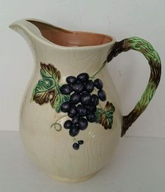 Vintage Carlton Ware Made in England-Australian Design Grapes Water Pitcher Desc