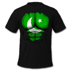 Spreadshirt Mens Pakistan Flag Ripped Muscles six pack chest t-sh T-Shirt black S ...