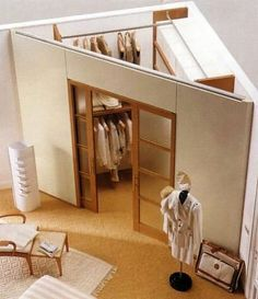 закрытый треугольный угловой дизайн гардеробной в комнате