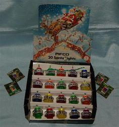 Vintage-Christmas-Tree-Lights-Pifco-20-Santa-Lights-4-Pkts-Spare-Bulbs-c1970s