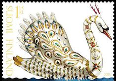 Klaus Haapaniemi Gold Swan stamp and envelope for the Finnish Post. Client: Klaus Haapaniemi & Co. Illustrations by Klaus Haapaniemi. Gray Gardens, Bird Illustration, Animal Illustrations, Swan Lake, Nordic Design, Stamp Collecting, Mail Art, Bird Art, Postage Stamps