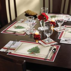 Splendid Tree Placemat with coordinating dinner and beverage napkins.   Placemat: #311089 Dinner Nap: #831210 Beverage Nap: #831329