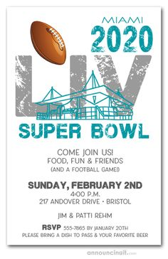 Super Bowl LIV will be hosted in the city of Miami at the revamped Hard Rock Stadium on February Get ready with invitations featuring a football, an outline of the Miami stadium over LIV and your choice of invitation wording. Football Invitations, Party Invitations, Super Bowl Quotes, Super Bowl 54, Super Bowl Party, Birthday Party For Teens, Invitation Wording, Invite, Miami Party