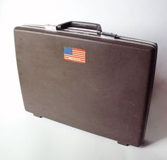 Vintage Samsonite Briefcase Attache Decorated Old Travel Stickers by PoorLittleRobin