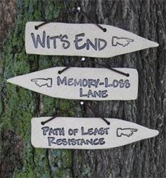 Psycho Path - not shown Handcrafted Detours are clever little garden plaques to help maneuver life's little bumps and curves along the road! With four different sayings to evoke a smile, the weather-p