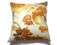 Decorative Pillow Cover Tangerine Orange Aqua by LynnesThisandThat