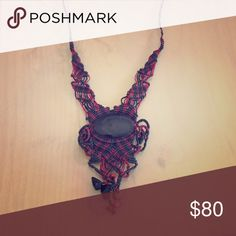 Obsidian and red thread Macrame Handwoven/ handcrafted in Mexico Jewelry Necklaces