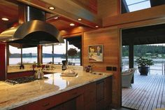 Kitchen open to deck on the water
