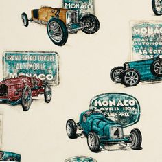 classic cars fabric for Noah's room. will go with the pictures once we finally hang them