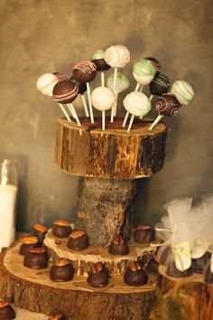 Custom made cake pops & stand for rustic theme wedding