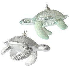 5 inch Glass Turtle Ornaments - Set of 2 RAZ Imports…