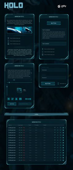 Holo GUI is a beautiful Sci-Fi GUI skin for Unity. The skin's API is scripted in C The skin contains a custom window system which simplifies everything. The window background is stretchable witho. Gui Interface, User Interface Design, Game Ui Design, App Design, Slide Design, Game Art, Sci Fi Games, Warhammer 40k, Affinity Designer