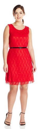 Plus-Size Sleeveless Lace Skater Dress with Black Belt - Women's Fashion - A Thrifty Mom