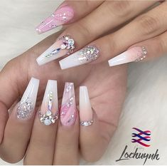 Elegant and Cute Acrylic Nail Designs, unique ideas for you to try in special day or event. Nail Art Designs, Cute Acrylic Nail Designs, Best Acrylic Nails, Pretty Nail Designs, Ongles Bling Bling, Rhinestone Nails, Bling Nails, 3d Nails, Nail Swag