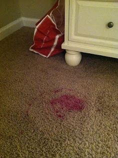 How to get nail polish out of carpet. (After the red polish fiasco last week, maybe I should pin this! Even though she didn't spill a drop! Lol)