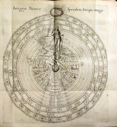 Fludd, a London physician, produced this work with hope that he would thereby be invited to join the Rosicrucians. In the plate above, Integrae Naturae, Fludd represents the alchemist as the ape of nature, simulating the creation of the macrocosm (universe) and the microcosm (the Earth) – The alchemist grasps a great chain reaching from the deity down to him through nature (the female figure).
