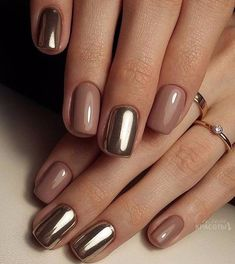 Pretty Golden Chrome Nail Art Designs for Prom – The Best Nail Designs – Nail Polish Colors & Trends Short Nail Designs, Gel Nail Designs, Classy Nail Designs, Designs For Nails, Simple Nail Design, Metallic Nails, Acrylic Nails, Metallic Gold, Matte Nails