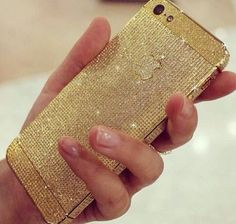 iphone sparkly gold <3