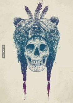 Just a skull wearing a bear.                              …