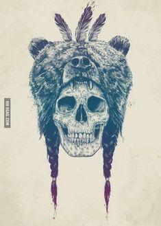 Just a skull wearing a bear.