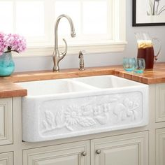 "33"" x 20"" x 10"" Floral Natural Marble Offset Double Bowl Farmhouse Sink - Polished White Thassos Marble"