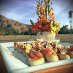 Last night we had the great pleasure of serving these tantalizing Rebanadas de Tomates Heirloom appetizers during a beautiful sunset wedding in #PalmSprings.  More: https://www.sohotaco.com/2015/10/25/wedding-catering-during-a-palm-springs-sunset #tacocatering @EYEAMHEREWITHYOU