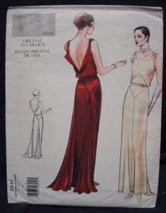 1930s Evening Gown Vintage Vogue Sewing Pattern Satin by kinseysue, $48.00