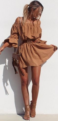 #summer #outfits Camel Off The Shoulder Dress + Camel Sandals