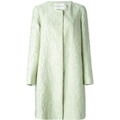 Green silk blend JQ a line coat from Mary Katrantzou featuring a round neck, long sleeves, a concealed front fastening, side seam pockets, a straight hem and a…