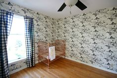 gingham curtains - love this wallpaper statement