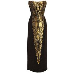 Bob Mackie Black & Gold Strapless Gown Dress