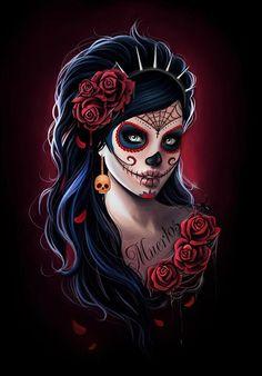 36 best ideas for mexican art tattoo la catrina La Muerte Tattoo, Catrina Tattoo, La Catarina Tattoo, Sugar Skull Mädchen, Los Muertos Tattoo, Day Of The Dead Artwork, Es Der Clown, Fantasy Kunst, Sugar Skull Tattoos