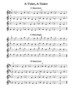 Free Violin Sheet Music - A-Tisket, A-Tasket in C, D, G, F, Bb, and A Major keys